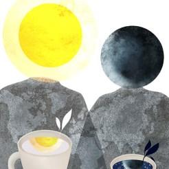 LA GENESI, per ILLUSTRATI, il sole e la luna. tecnica digitale.