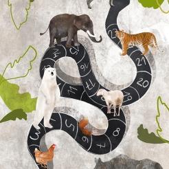 Proposta per ILLUSTRATI, tema LA GENESI, gli animali della terra. Tecnica mista e digitale.
